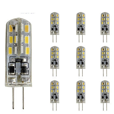 10pçs 1.5W 300lm G4 Luminárias de LED  Duplo-Pin Tubo 24 Contas LED SMD 3014 Regulável Decorativa Verde Azul Vermelho 12V