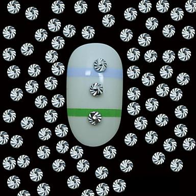 100st 2mm ronde zilverkleurige metalen klinknagels met top graan lijn nail art decoratie