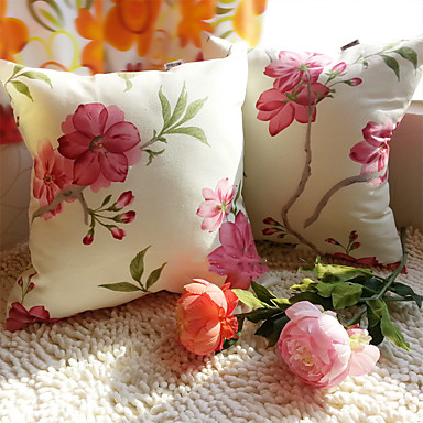 1kpl kukkakuvio raidallinen puuvilla neliö tyynyliina 45cm * 45cm