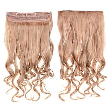 24inch 60cm의 헤어 피스 번호 613분의 18 혼합 색상 1 개 머리 확장 곱슬 클립은 물결 모양의 긴 합성 머리 확장 곱슬 곱슬