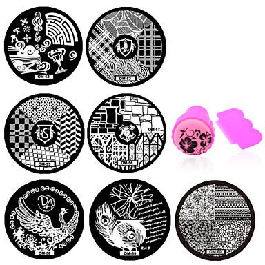 Outras Decorações - Flôr - para Dedo - de Metal - com 10pcs nail plates+ 1set nail stamper and scraper - 5.5cm for dia - (cm)