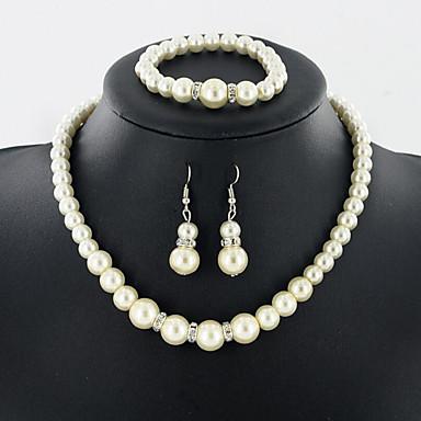 Dame Seturi de bijuterii Perle de Mireasă Nuntă Zilnic Perle 1 Colier 1 Pereche de Cercei 1 Brățară