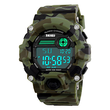 cheap Men's Watches-SKMEI Men's Sport Watch Military Watch Wrist Watch Digital Quilted PU Leather Multi-Colored 30 m Water Resistant / Waterproof Alarm Calendar / date / day Digital Camouflage Green Two Years Battery