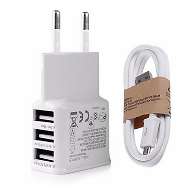Wtyczka EU Wtyczka US Telefonowa ładowarka USB Wieloportowa 100 cm Wyloty 3 porty USB 2,1A AC 100V-240V