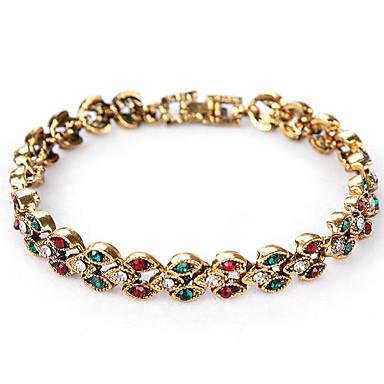 Damskie Bransoletki i łańcuszki na rękę Kryształ Modny minimalistyczny styl Osobiste Europejski Kryształ górski Leaf Shape Biżuteria Na