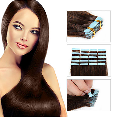 Tape In Human Hair Extensions Human Hair Straight Women's Daily