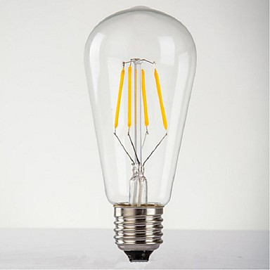 E26/E27 مصابيح كروية LED ST64 4 الأضواء طاقة عالية LED ديكور أبيض دافئ 140-280lm 2300-300K AC 220-240V