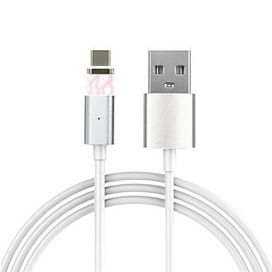 C Tipi Manyetik Kablo Uyumluluk Samsung / Huawei / HTC / LG / Xiaomi 100 cm PVC / Aluminyum