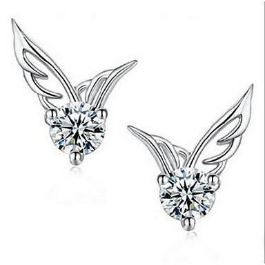 Kadın Vidali Küpeler Mücevher Moda Som Gümüş Kanatlar / Tüy Mücevher Uyumluluk Günlük