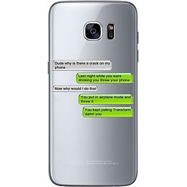Maska Pentru Samsung Galaxy S7 edge S7 Ultra subțire Transparent Model Capac Spate Cuvânt / expresie Moale TPU pentru S7 edge S7 S6 edge