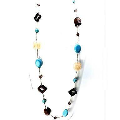 Kadın's Kristal Tek Dizi Iplikçik kolye - Kristal, Turkuaz Moda, Euramerican Açık Mavi Kolyeler Uyumluluk Parti, Günlük