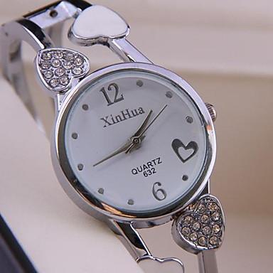 Kadın's Moda Saat Quartz Alaşım Bant Heart Shape Halhal Gümüş
