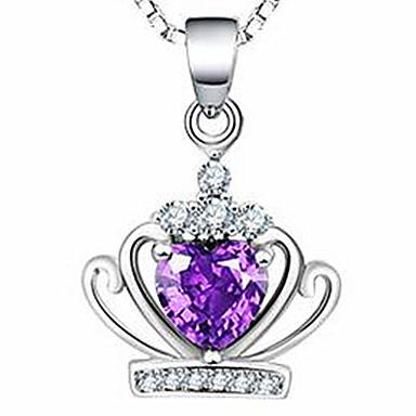 Kadın Uçlu Kolyeler Kristal Crown Shape Mücevher Som Gümüş Temel Mücevher Uyumluluk Günlük