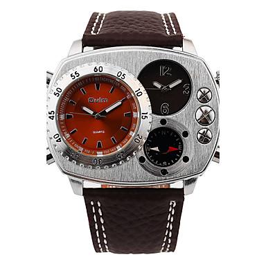 Bărbați Ceas La Modă Ceas de Mână Ceas Sport Ceas Militar  Quartz Termometru Zone Duale de Timp  Busolă Piele Autentică Bandă Vintage