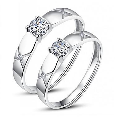 Yüzükler Düğün Parti Günlük Mücevher Gümüş Kaplama Çift Yüzükleri Midi Yüzükler Yüzük Nişan yüzüğü 1 çift,Ayarlanabilir Gümüş