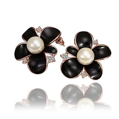 Kolczyki na sztyft Cyrkonia Imitacja pereł Cyrkon Stop Gold Silver Rose Biżuteria Na Codzienny Casual 1 para