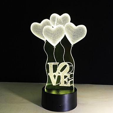 1 parça 3D Gece Görüşü Uzaktan Kontrol Gece görüşü Küçük Boy Renk Değiştiren Sanatsal LED Modern/Çağdaş