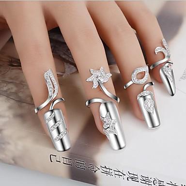 Damskie Pierścień oświadczenia / Ring Finger paznokci - Posrebrzany Kwiat Spersonalizowane, Unikalny, Modny Regulacja Na Ślub / Impreza / Prezent