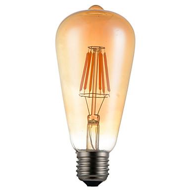 1 قطع 6 واط e26 / e27 أدى خيوط المصابيح st64 6 المصابيح كوب الزخرفية عكس الضوء الأبيض الدافئ 450-550lm 2300-2800 كيلو أس 85-265 فولت