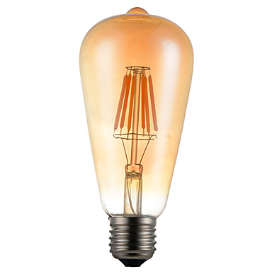 1kpl 6w e26 / e27 led-hehkulamppujen st64 6-ledit koristeellinen himmennettävä lämmin valkoinen 450-550lm 2300-2800k ak 85-265v