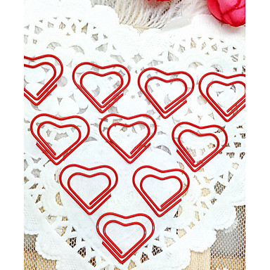 Heart Pattern Silver Plastic Wrapped Paper Clips(10PCS)For Office