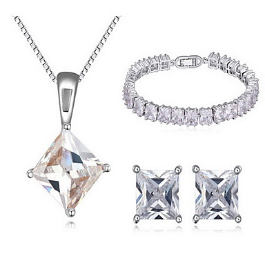 Biżuteria 1 Naszyjnik 1 parę kolczyków 1 Bransoletka Cyrkonia Impreza Cyrkon 1set Damskie Biały Prezenty ślubne