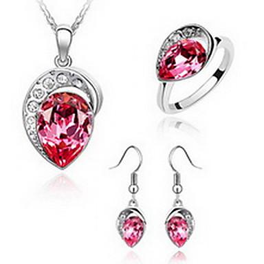 billige Damesmykker-Dame Krystall High End Crystal Smykke Sett Kjærlighed Europeisk Østerrisk krystall øredobber Smykker Rød / Blå Til Fest / Ringer