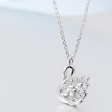 Damskie Naszyjniki z wisiorkami Biżuteria Cross Shape Animal Shape Łabędź Srebro standardowe Imitacja diamentu Luksusowy Modny Biżuteria