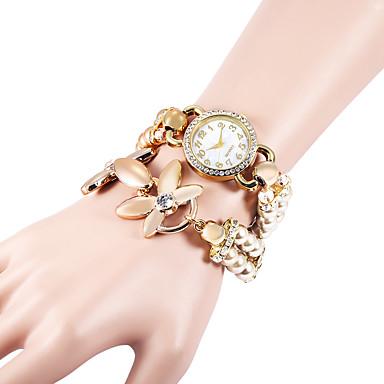 Kadın's Quartz Sahte Elmas Saat Bilezik Saat imitasyon Pırlanta Plastic Bant İnci Zarif Moda Beyaz Haki