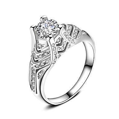 خاتم خطوبة خاتم عصابة الفرقة أبيض زركون فضي زفاف حزب مناسبة خاصة يوميا فضفاض مجوهرات