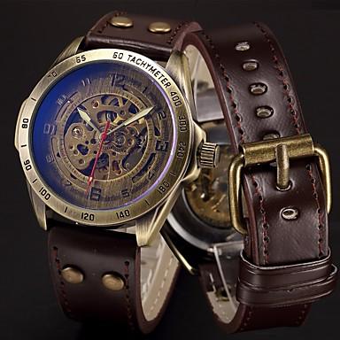 68610eefd579 Hombre Reloj Deportivo Reloj Esqueleto Reloj Militar Cuerda Automática Acero  Inoxidable Cuero Auténtico Negro   Azul