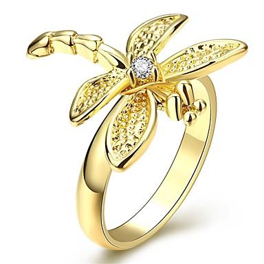 Sormukset Cubic Zirkonia Päivittäin Kausaliteetti Korut Zirkoni Kupari Gold Plated Naisten Sormus 1kpl,6 7 8 Keltainen kulta