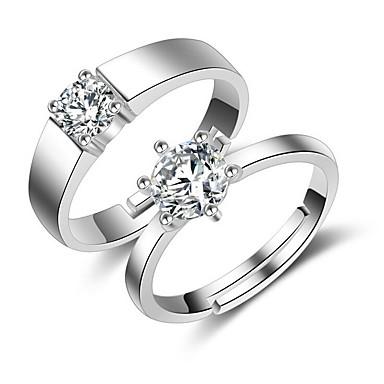 Pierścionki Ślub Impreza Codzienny Casual Biżuteria Cyrkon PosrebrzanyPierścionki dla par Pierścionki na palec środkowy Pierscionek