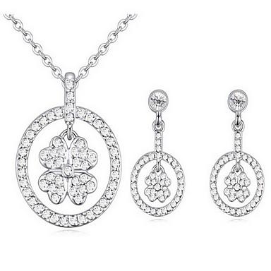 Κρυστάλλινο Κράμα Λευκό Ασημί Μπεζ Ουράνιο Τόξο 1 Κολιέ 1 Ζευγάρι σκουλαρίκια Για Πάρτι 1set Δώρα Γάμου