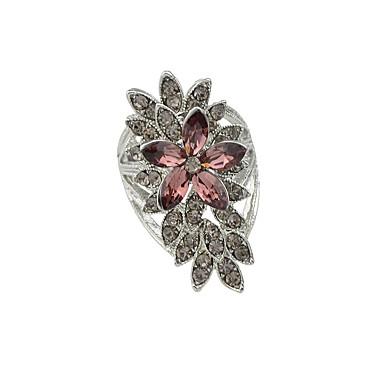 للمرأة خاتم فضي حجر الراين سبيكة موضة فضفاض مجوهرات
