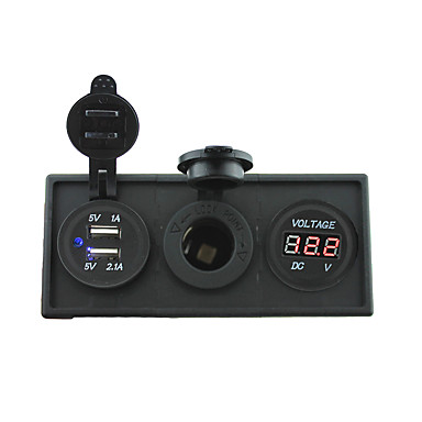 12v / 24v εξουσία charger3.1a θύρα USB και 12V μετρητή βολτόμετρο με οθόνη κάτοχο στέγαση για κατασκήνωση φορτηγό πλοίο αυτοκίνητο (με