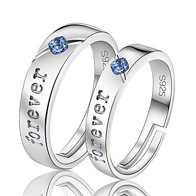 Yüzükler Düğün Parti Günlük Mücevher Zirkon Gümüş Kaplama Çift Yüzükleri Midi Yüzükler Yüzük Nişan yüzüğü 1 çift,Ayarlanabilir Gümüş