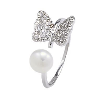 Kadın Yüzük İmitasyon İnci Lüks Açık Ayarlanabilir İnci İmitasyon İnci Zirkon Kübik Zirconia Mücevher Uyumluluk Günlük