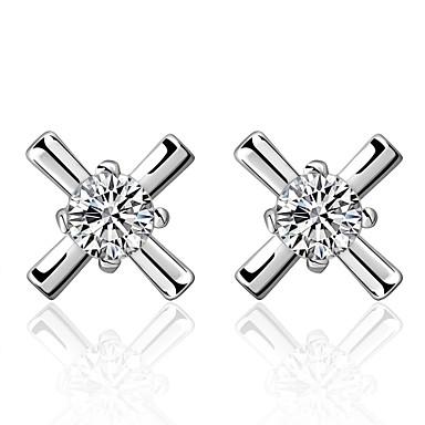 Kolczyki na sztyft Cyrkonia Cyrkon Miedź Posrebrzany Silver Biżuteria Na Codzienny Casual 1 para