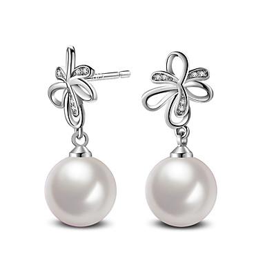 Cercei Stud Zirconiu Cubic Perle Perle Plastic Zirconiu Bijuterii Roz Aprins Argintiu perlă Nuntă Petrecere Zilnic Casual Costum de