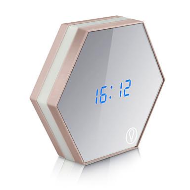USB أضواء الليل شحن متعددة الوظائف مرآة الزجاج المنبه اغف الحرارة الحائط الرقمية على مدار الساعة سطوع التي ينبعث منها ضوء