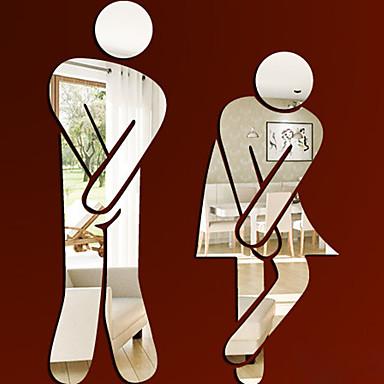 Ludzie Naklejki Naklejki ścienne: lustro Naklejki toaleta,Winyl Materiał Removable Dekoracja domowa Naklejka