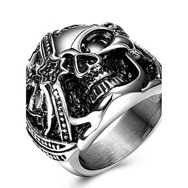 Άλλα / Κρανίο Δαχτυλίδι / Δακτύλιος Δήλωσης - Εξατομικευόμενο / Μοναδικό / Euramerican Ασημί Δαχτυλίδι Για Γάμου / Πάρτι / Ειδική