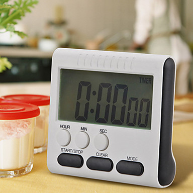 1Pcs Black Square Magnetic Large Lcd Digital Kitchen Timer Count Up Down Alarm Clock 24 Hours With Stand
