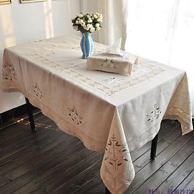 Rectangulaire Embroidered Table Cloths , Linen materiaaliHotel ruokapöytä Häät Party Sisustus Häihin Illallinen Joulu Sisustus Favor