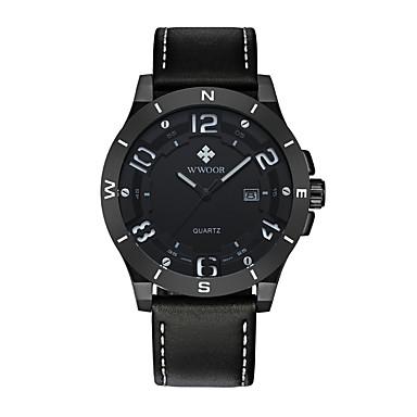 ساعة رياضية كوارتز ياباني جلد طبيعي فرقة كوول أسود بني أسود بني أسود/أزرق أسود/فضي
