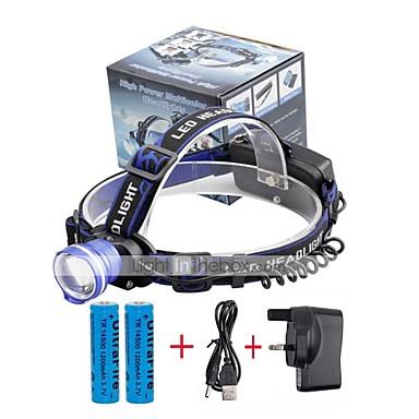 U'King Frontale Far LED 2000 lm 3 Mod LED cu Baterii și Încărcătoare Zoomable Alarmă Focalizare Ajustabilă Multifuncțional Dimensiune