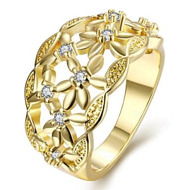 Yüzükler Parti Günlük Mücevher Zirkon Bakır Altın Kaplama Gül Rengi Altın Kaplama Yüzük 1pc,7 8 Gül Altın Sarı Altın
