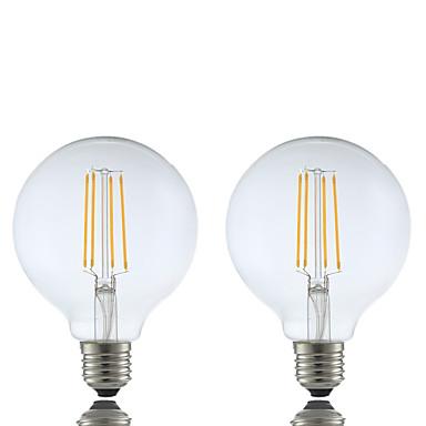 GMY® 2pcs 6W 600 lm E26/E27 Żarówka dekoracyjna LED G95 4 Diody lED COB Przysłonięcia Ciepła biel AC 220-240V