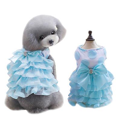 Köpek Elbiseler Köpek Giyimi Fiyonk Düğüm Sarı Mavi Pembe Şifon Kostüm Evcil hayvanlar için Yaz Kadın's Sevimli Moda